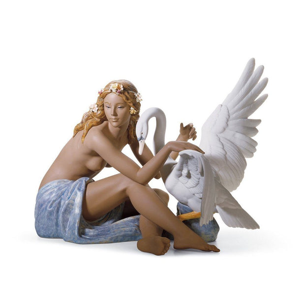 Lladro Porcelain Leda And The Swan Figurine Gres Finish Figurines Lladro