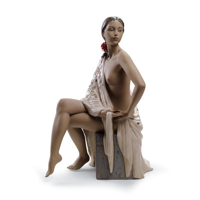 Lladro Porcelain Nude With Shawl Figurine Gres Finish Figurines Lladro