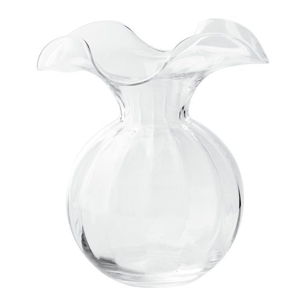Vietri Hibiscus Glass Clear Medium Fluted Vase Dinnerware Vietri