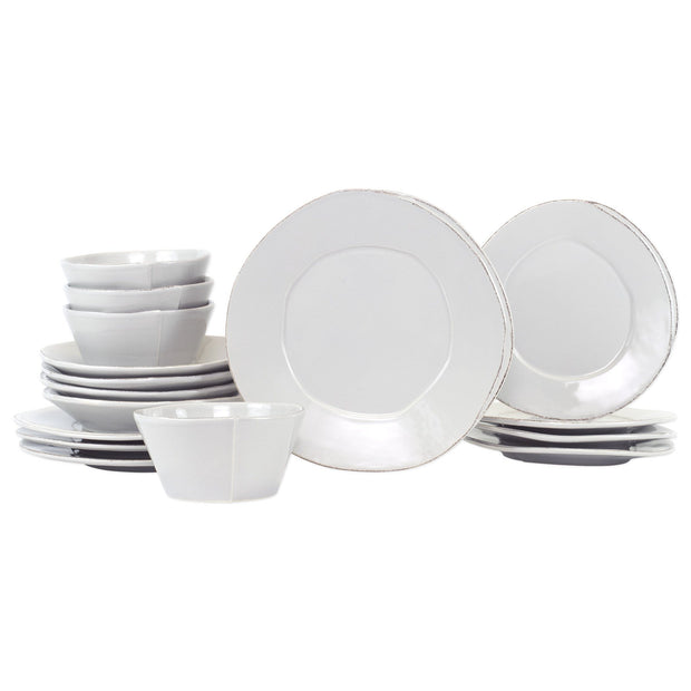 Vietri Lastra Sixteen-Piece Place Setting Dinnerware Vietri Light Gray