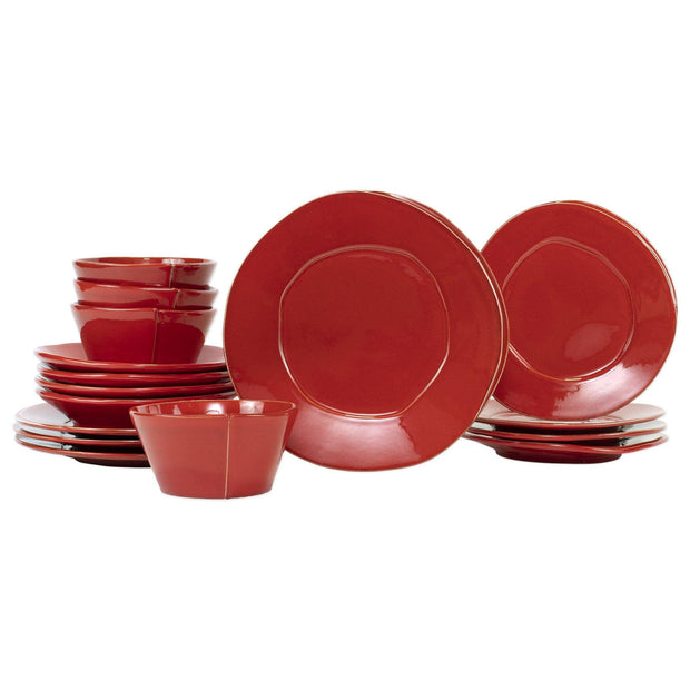 Vietri Lastra Sixteen-Piece Place Setting Dinnerware Vietri Red