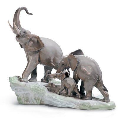 Lladro Porcelain Elephants Walking Figurine Figurines Lladro