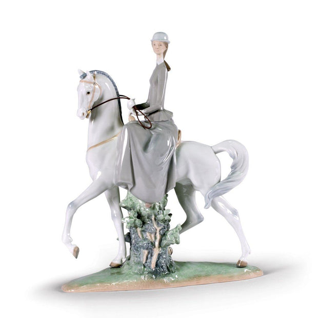 Lladro Porcelain Woman On Horse Figurine Figurines Lladro