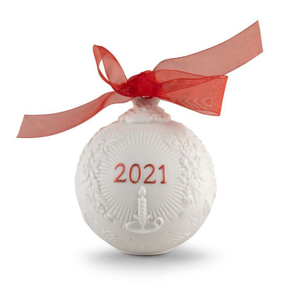 Lladro Porcelain 2021 Ball Christmas Ornament (Re-Deco Red) Christmas Ornaments Lladro
