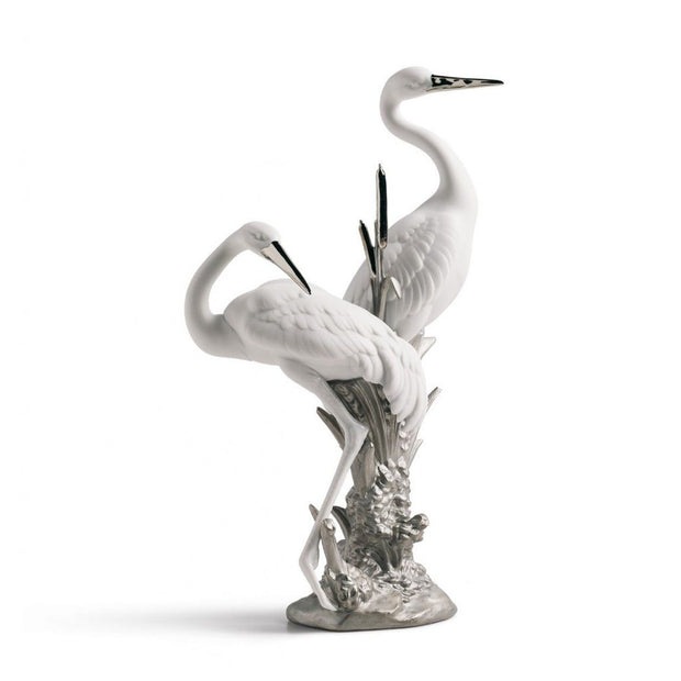 Lladro Porcelain Courting Cranes Figurine Silver Lustre Figurines Lladro