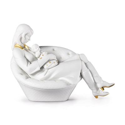 Lladro Porcelain Feels Like Heaven Figurine - White & Gold Figurines Lladro