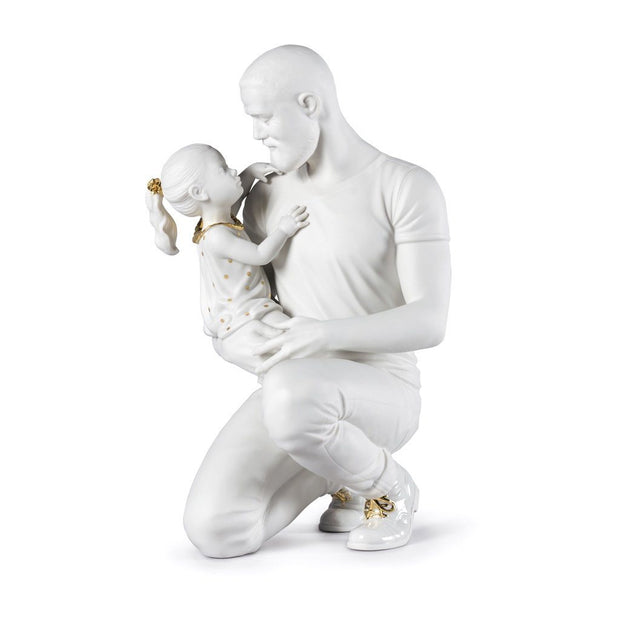 Lladro Porcelain In Daddy's Arms Figurine - White & Gold Figurines Lladro