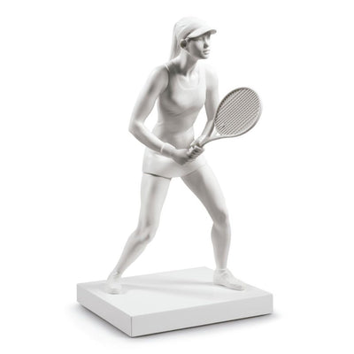 Lladro Porcelain Lady Tennis Player Figurine White Figurines Lladro
