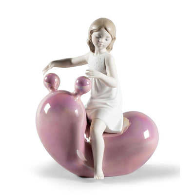Lladro Porcelain My Seesaw Balloon Girl Figurine - Pink Figurines Lladro