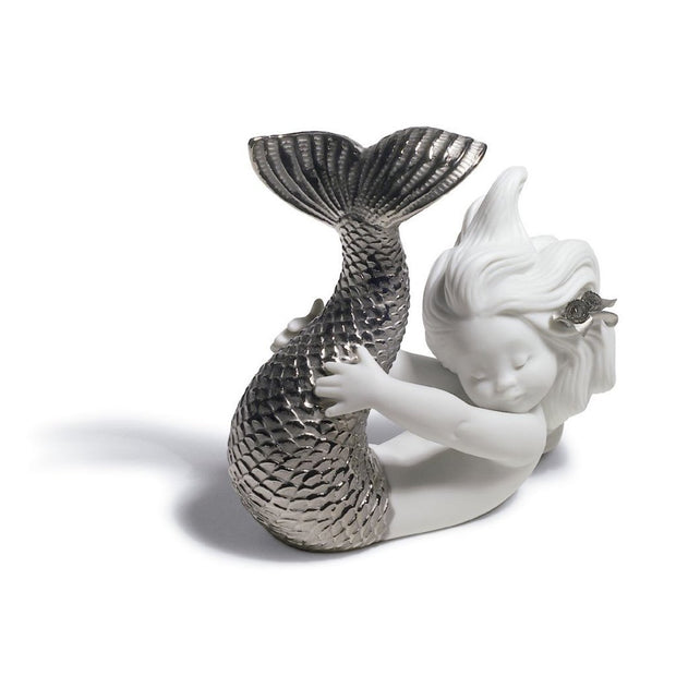 Lladro Porcelain Playing At Sea Mermaid Figurine Silver Lustre Figurines Lladro