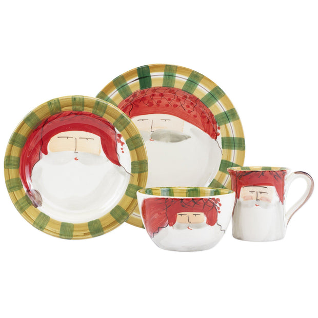 Vietri Old St. Nick Red Hat Four-Piece Place Setting Dinnerware Vietri