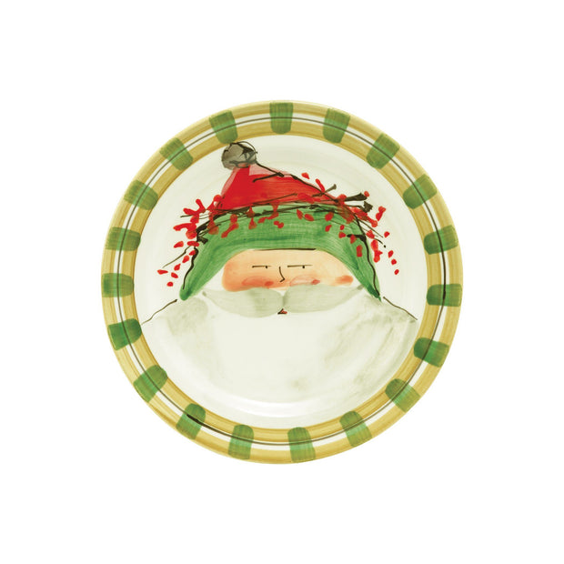 Vietri Old St. Nick Round Salad Plate - Green Hat Dinnerware Vietri