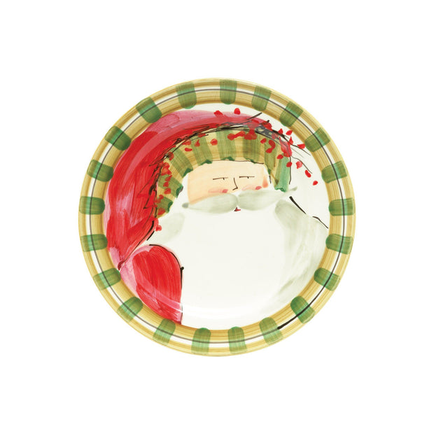Vietri Old St. Nick Round Salad Plate - Striped Hat Dinnerware Vietri