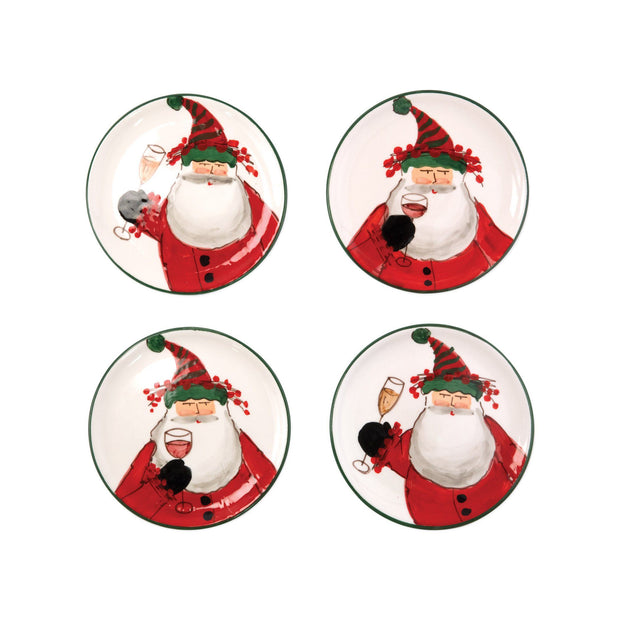Vietri Old St. Nick Cocktail Plates - Set of 4 Dinnerware Vietri