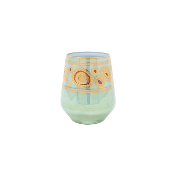Vietri Regalia Stemless Wine Glass Dinnerware Vietri Aqua