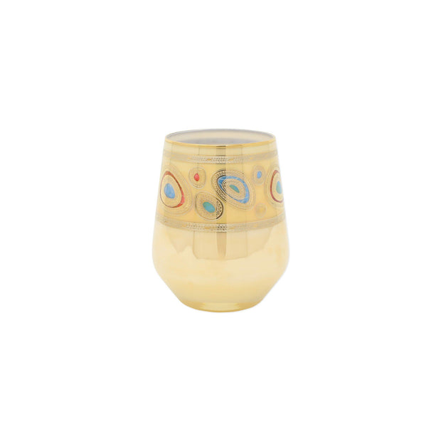 Vietri Regalia Cream Stemless Wine Glass Dinnerware Vietri