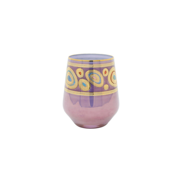 Vietri Regalia Stemless Wine Glass Dinnerware Vietri Purple