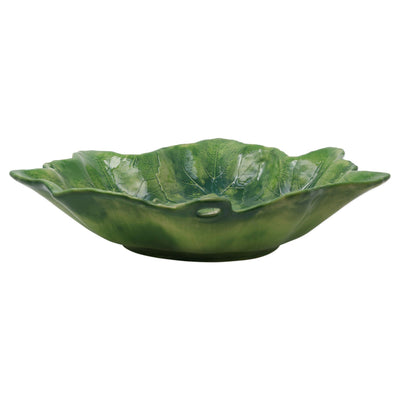Vietri Foglia Stone Green Large Serving Bowl Dinnerware Vietri