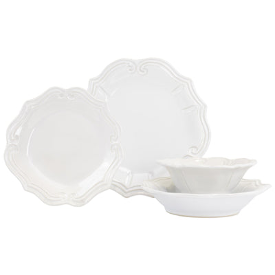 Vietri Incanto Stone White Baroque Four-Piece Place Setting Dinnerware Vietri