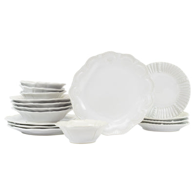 Vietri Incanto Stone White Assorted Sixteen-Piece Place Setting Dinnerware Vietri