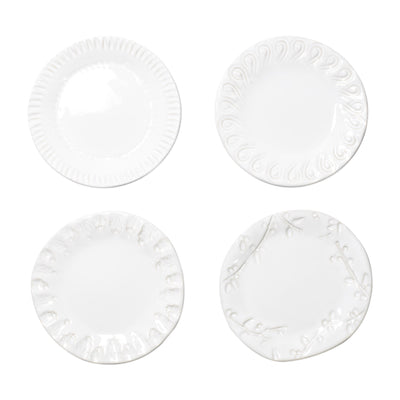 Vietri Incanto Stone White Assorted Canape Plates - Set of 4 Dinnerware Vietri