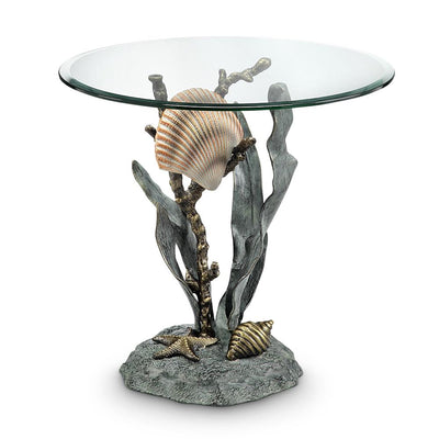 SPI Home Shells and Seagrass End Table Tables SPI