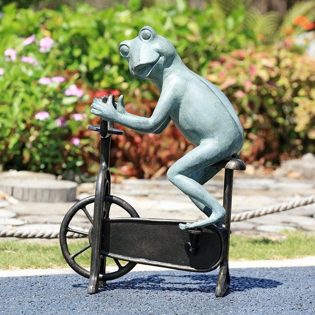 SPI Garden Workout Frog on Bicycle Sculpture Sculptures SPI