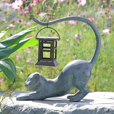 SPI Garden Stretching Cat LED Lantern Sculptures SPI