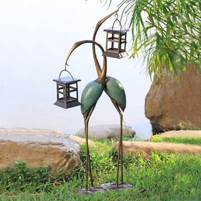 SPI Garden Stylized Crane Pair LED Lanterns Sculptures SPI