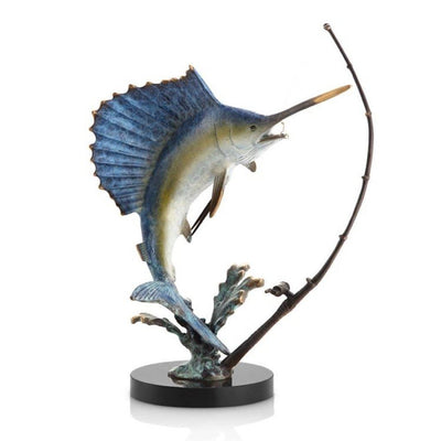 SPI Gallery Fighting Sailfish with Tackle Sculpture Sculptures SPI
