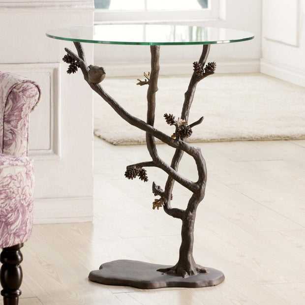 SPI Home Bird & Pinecone End Table Tables SPI
