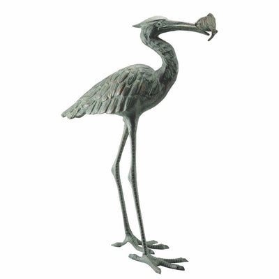 SPI Garden Single Crane Eating Fish Sculpture Sculptures SPI