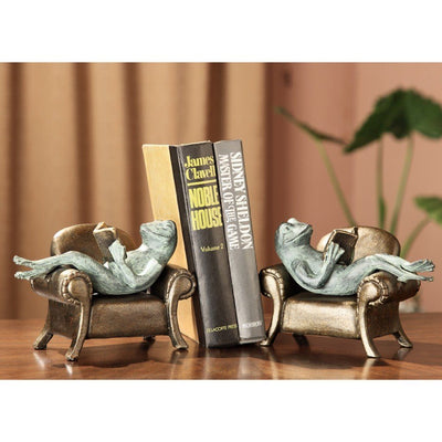 SPI Home Frog Reading on Sofa Bookends Sculptures SPI