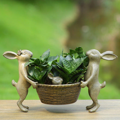 SPI Garden Rabbit Family Planter Holder Planters SPI