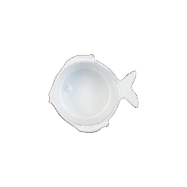 Vietri Lastra Fish White Condiment Bowl Dinnerware Vietri