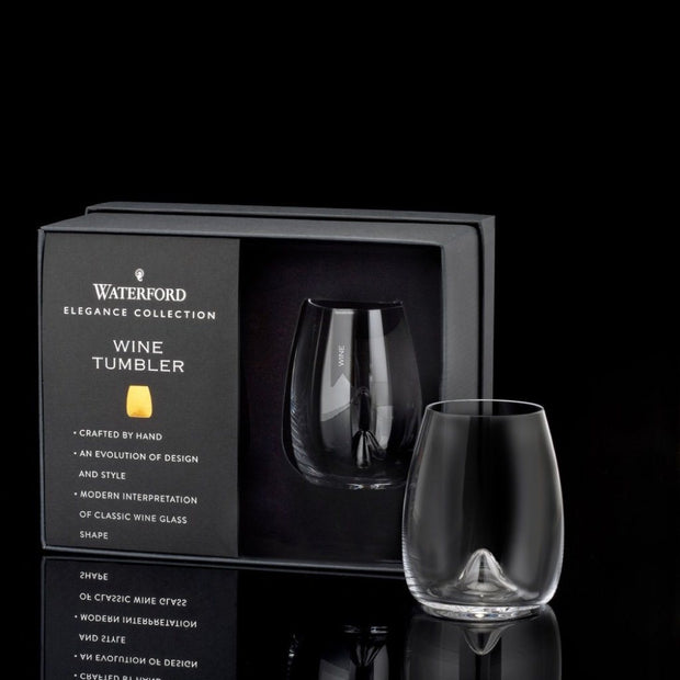 Waterford Crystal Elegance Stemless Wine Glass, Pair Barware Waterford Crystal