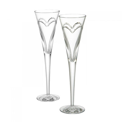 Waterford Crystal Wishes Love & Romance Flute Pair Barware Waterford Crystal