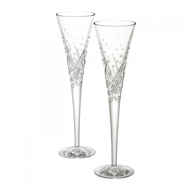 Waterford Crystal Wishes Happy Celebrations Flute Pair Barware Waterford Crystal