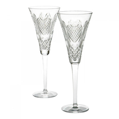 Waterford Crystal Wedding Heirloom Flute Pair Barware Waterford Crystal
