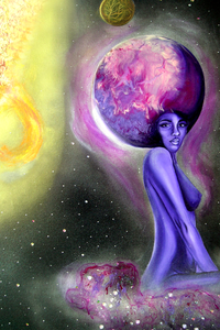 Venus on a Nebula  Original Painting