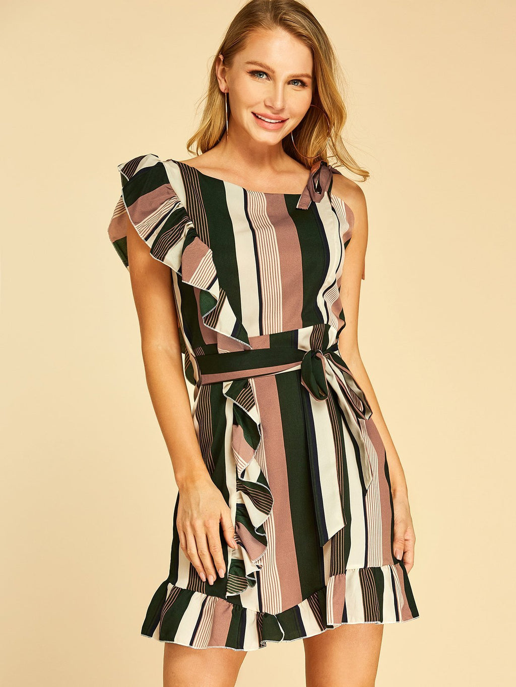 Color Block Ruffle Trim Self-tie Design Sleeveless Dress