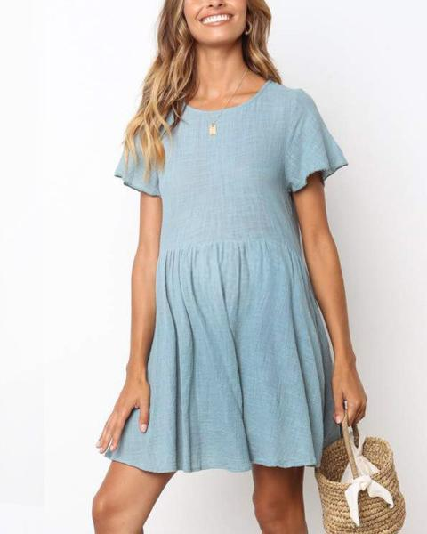Light Blue Pleated Casual Maternity Dress