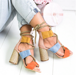(Buy 2 free shipping)</br>Suede High Heel Lace Up Sandals