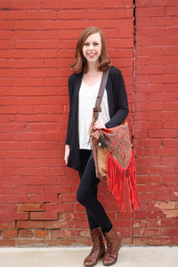 Brown Bag with Red Fringe
