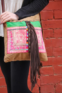 Tan Fringe Crossbody Purse