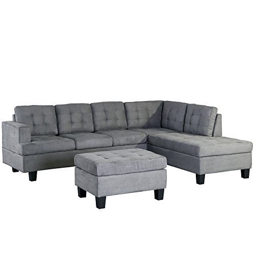 Merax. Sofa 3-Piece Sectional Sofa with Chaise and Ottoman Living Room  Furniture,Grey (Gray.)