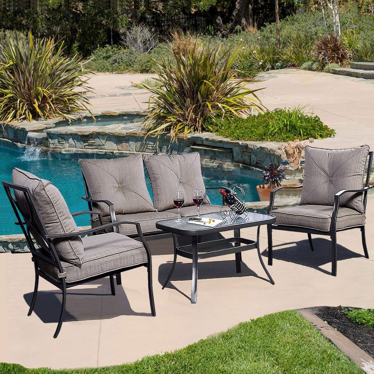 Exceptionnel Giantex 4 PCS Steel Frame Patio Furniture Tea Table U0026 Chairs Set Outdoor  Garden Pool Giantex 4 PCS Steel Frame Patio Furniture Tea Table U0026 Chairs  Set ...