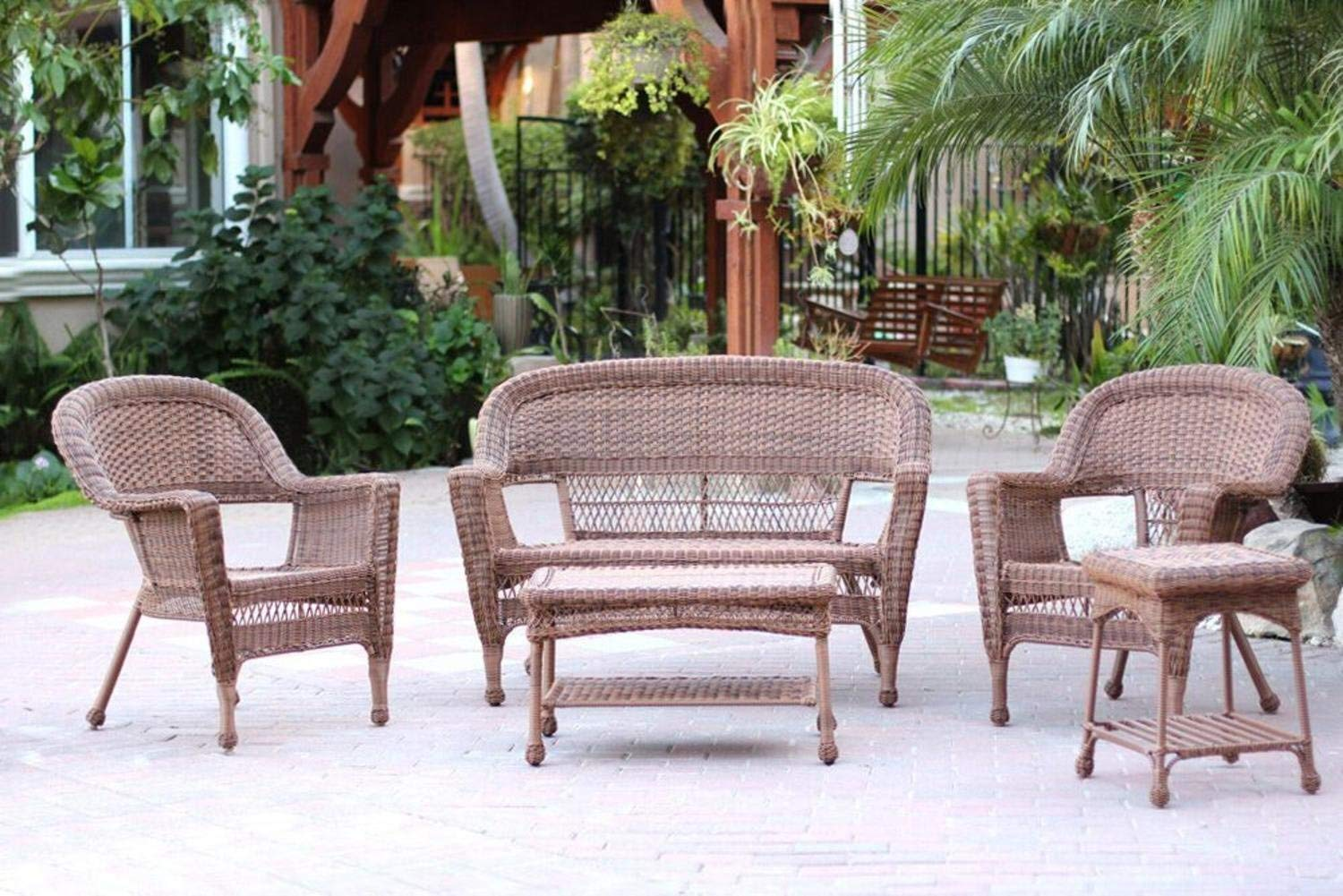 Brown Wicker Patio Furniture.4 Piece Swann Honey Brown Wicker Patio Chairs Loveseat And Table Furniture Set 4 Piece Swann Honey Brown Wicker Patio Chairs Loveseat And Table