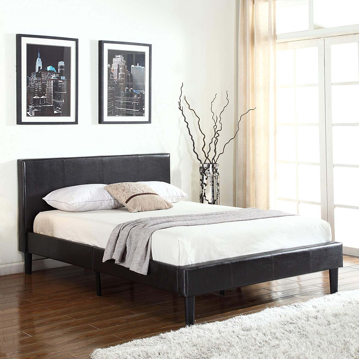 Classic deluxe bonded leather low profile platform bed frame w paneled headboard design