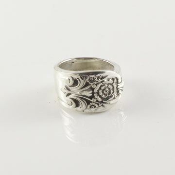 Antique Silver Spoon Ring (Size J)